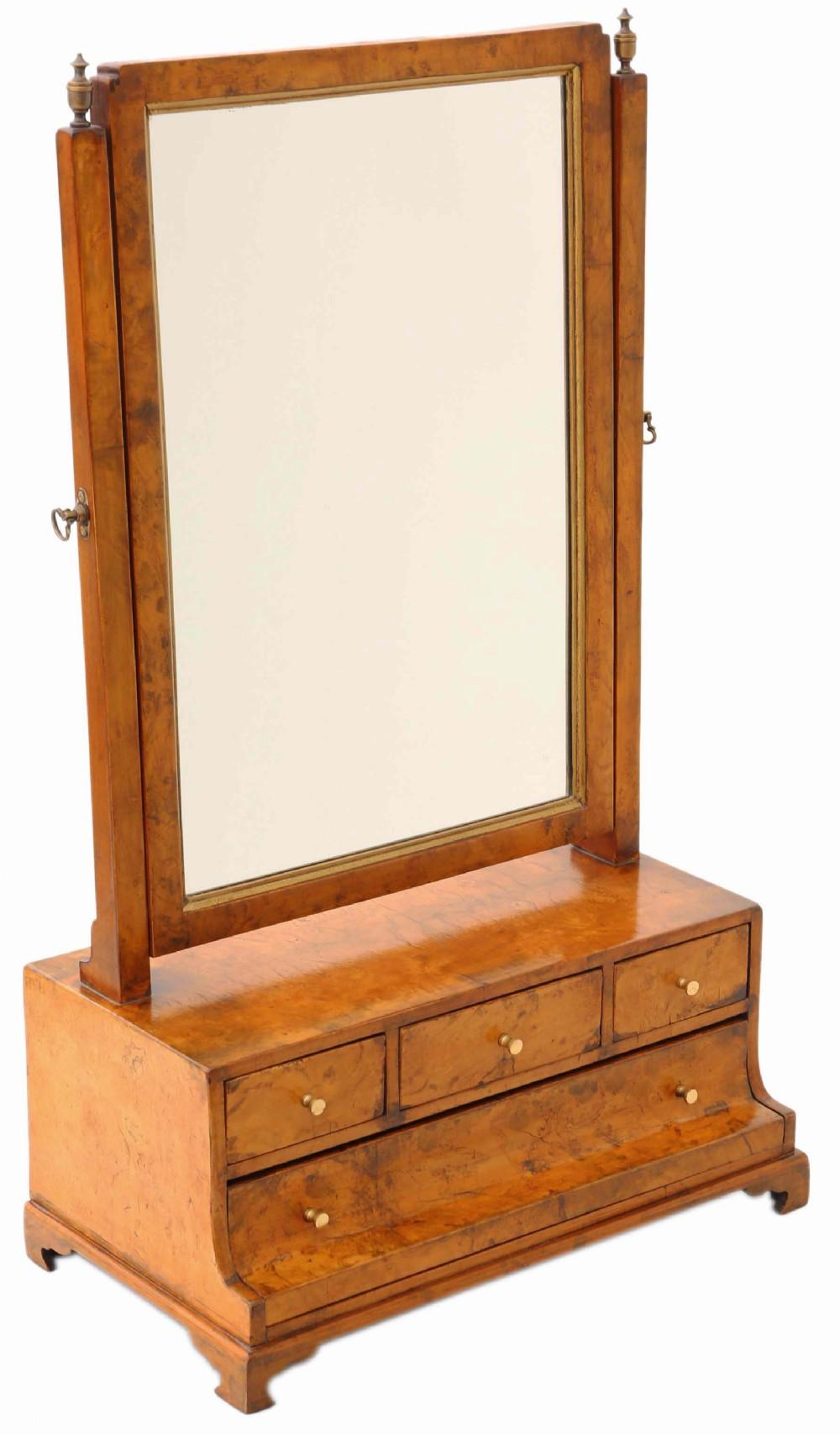 georgian burr walnut maple swing dressing table mirror