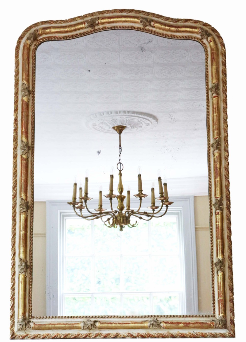 antique very large fine quality 19th century white gilt overmantle wall mirror