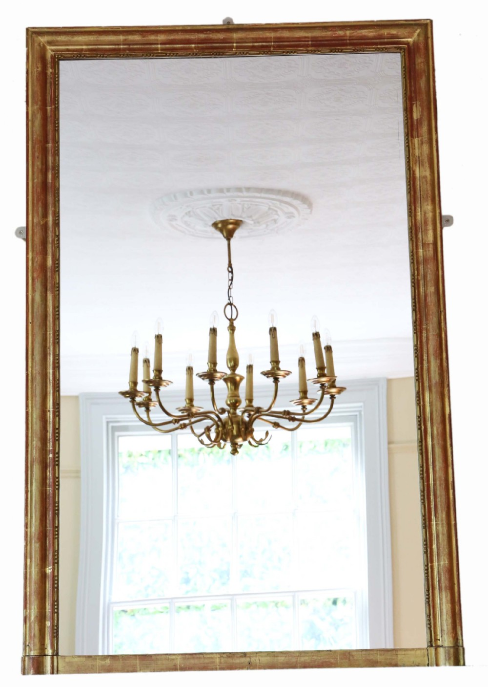 antique very large quality 19th century gilt overmantle wall mirror