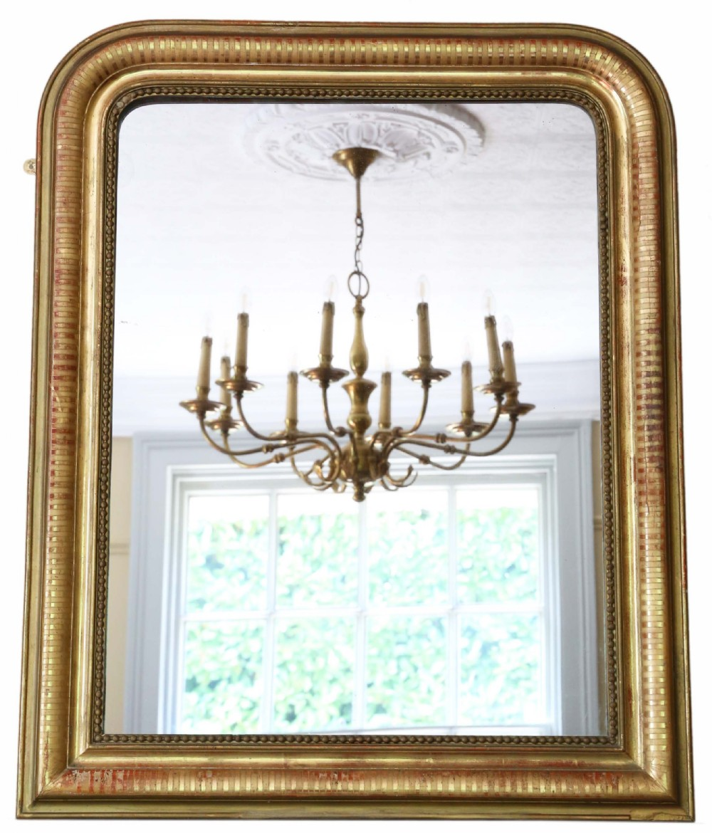 antique large quality 19th century gilt overmantle wall mirror