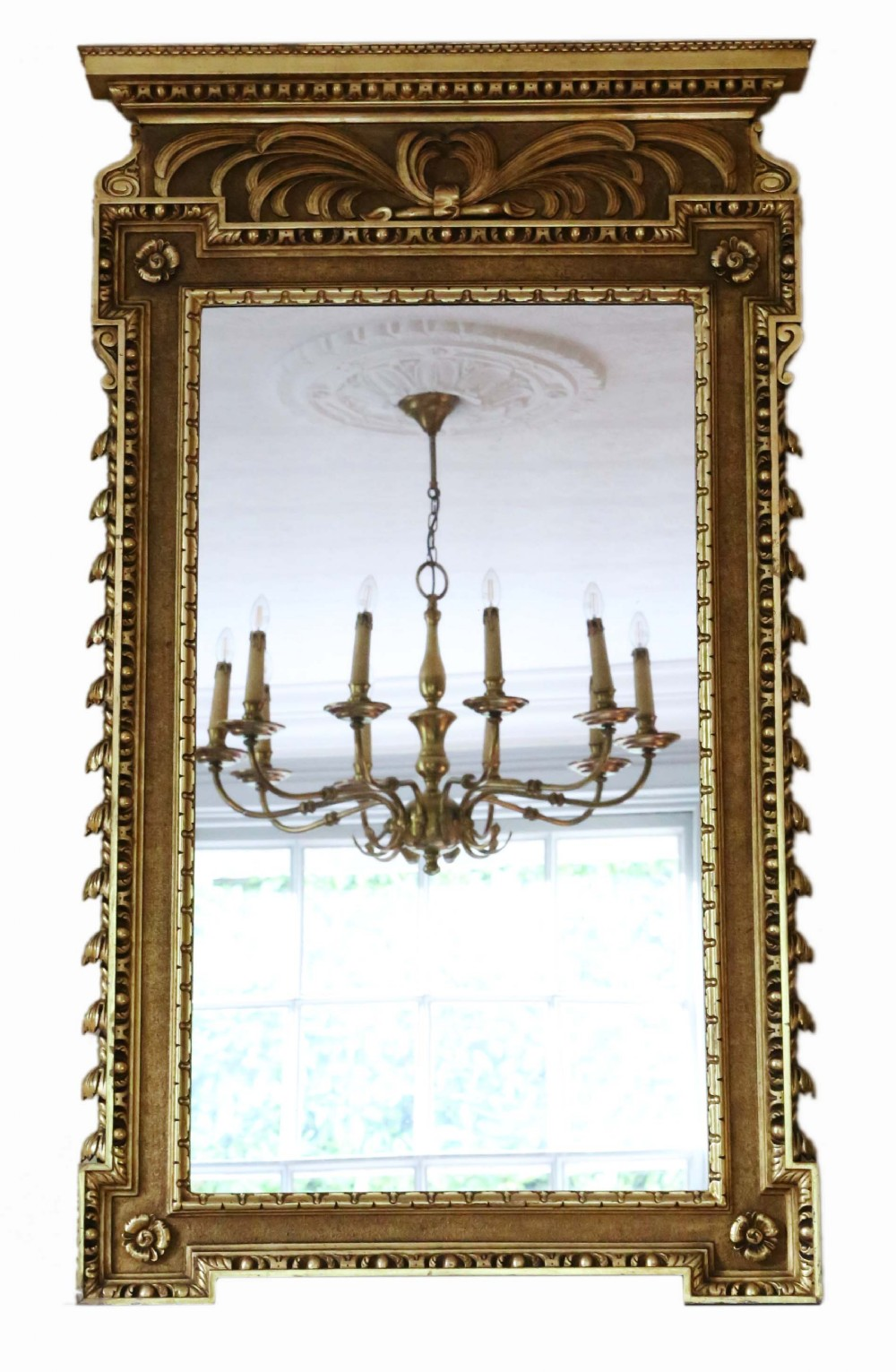 antique large rare fine quality gilt overmantle or wall mirror c1900