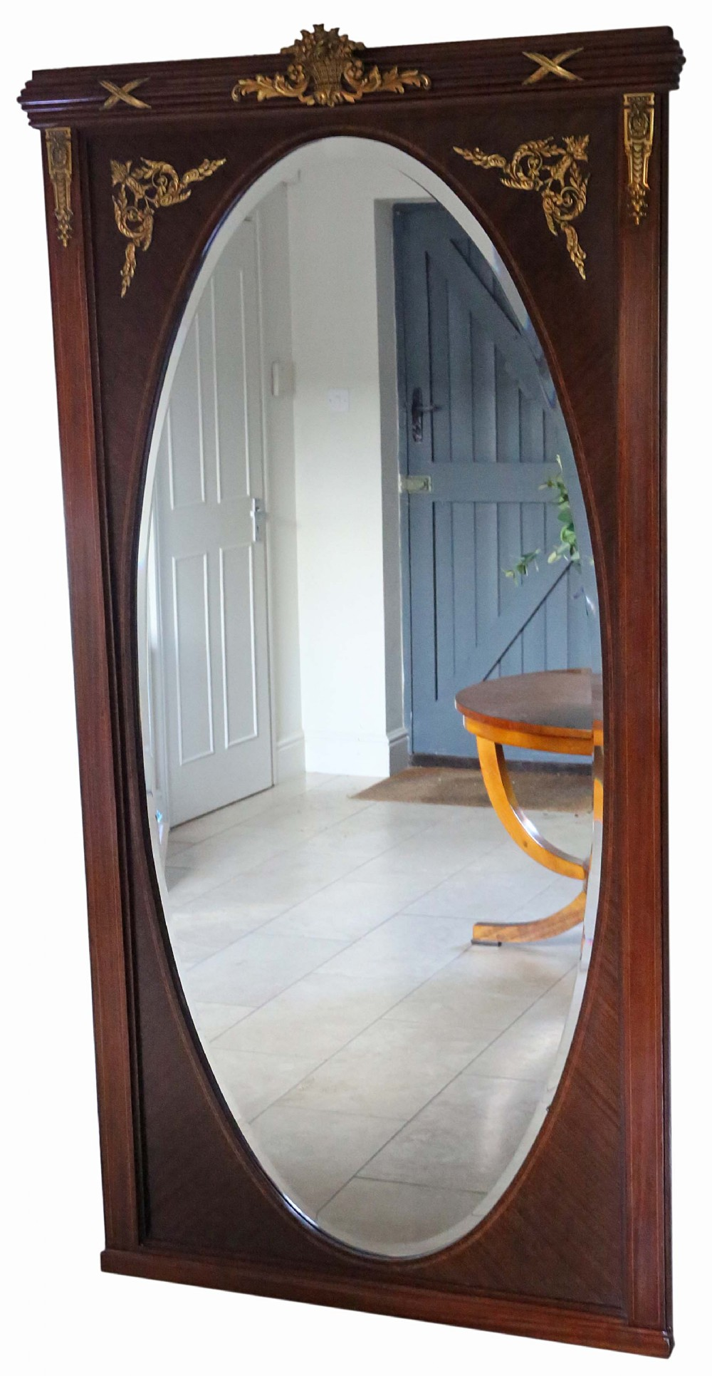 antique very large quality inlaid mahogany full height wall mirror c19101920
