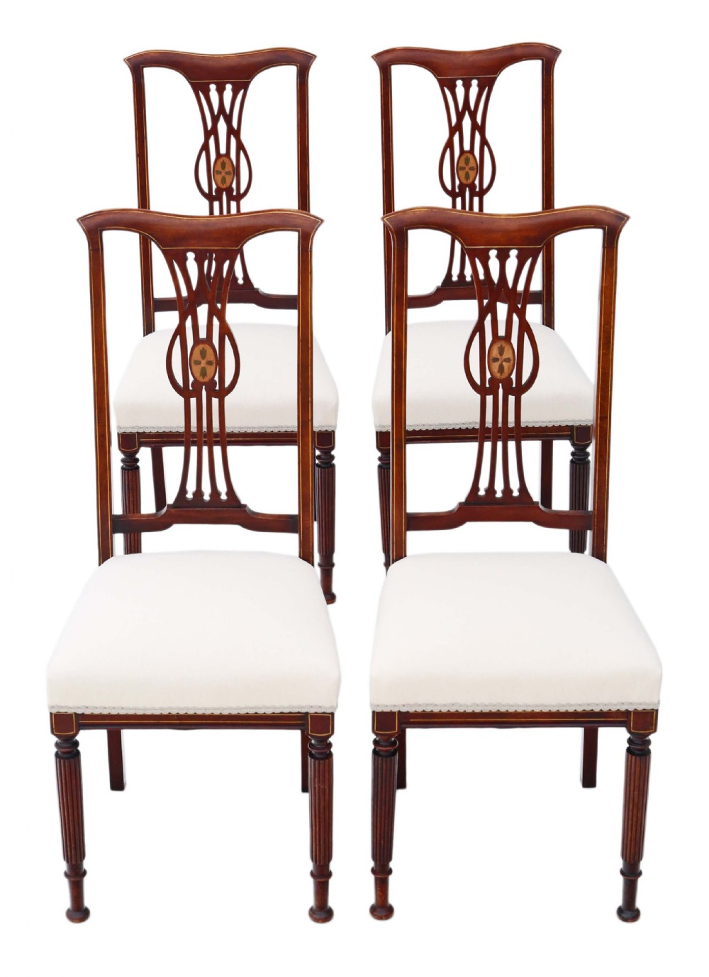 antique set of 4 victorian c1900 art nouveau inlaid mahogany dining chairs