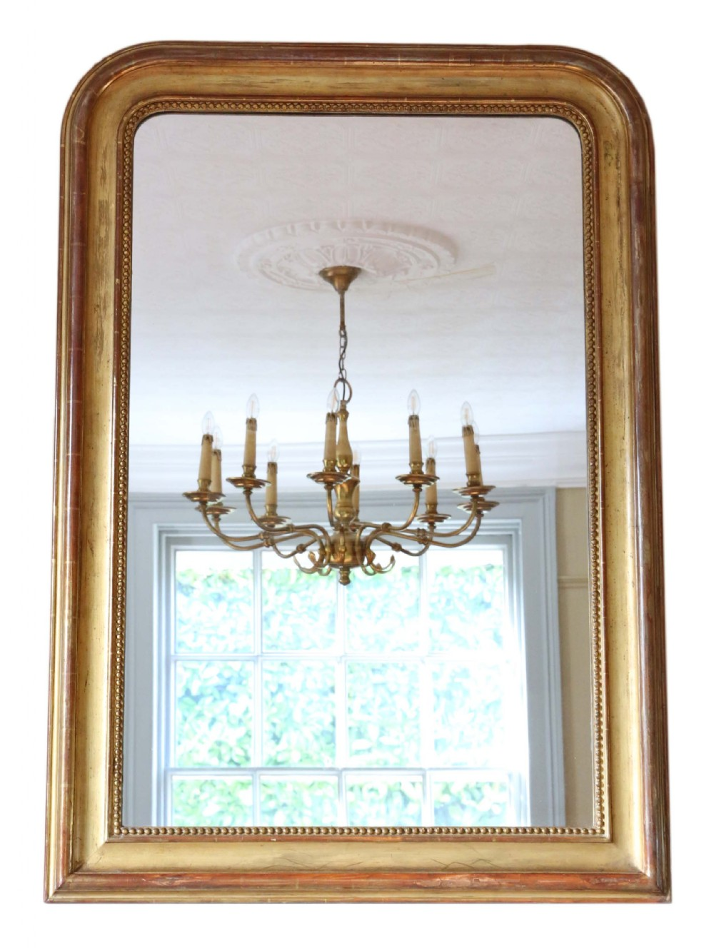 19th century large gilt overmantle or wall mirror