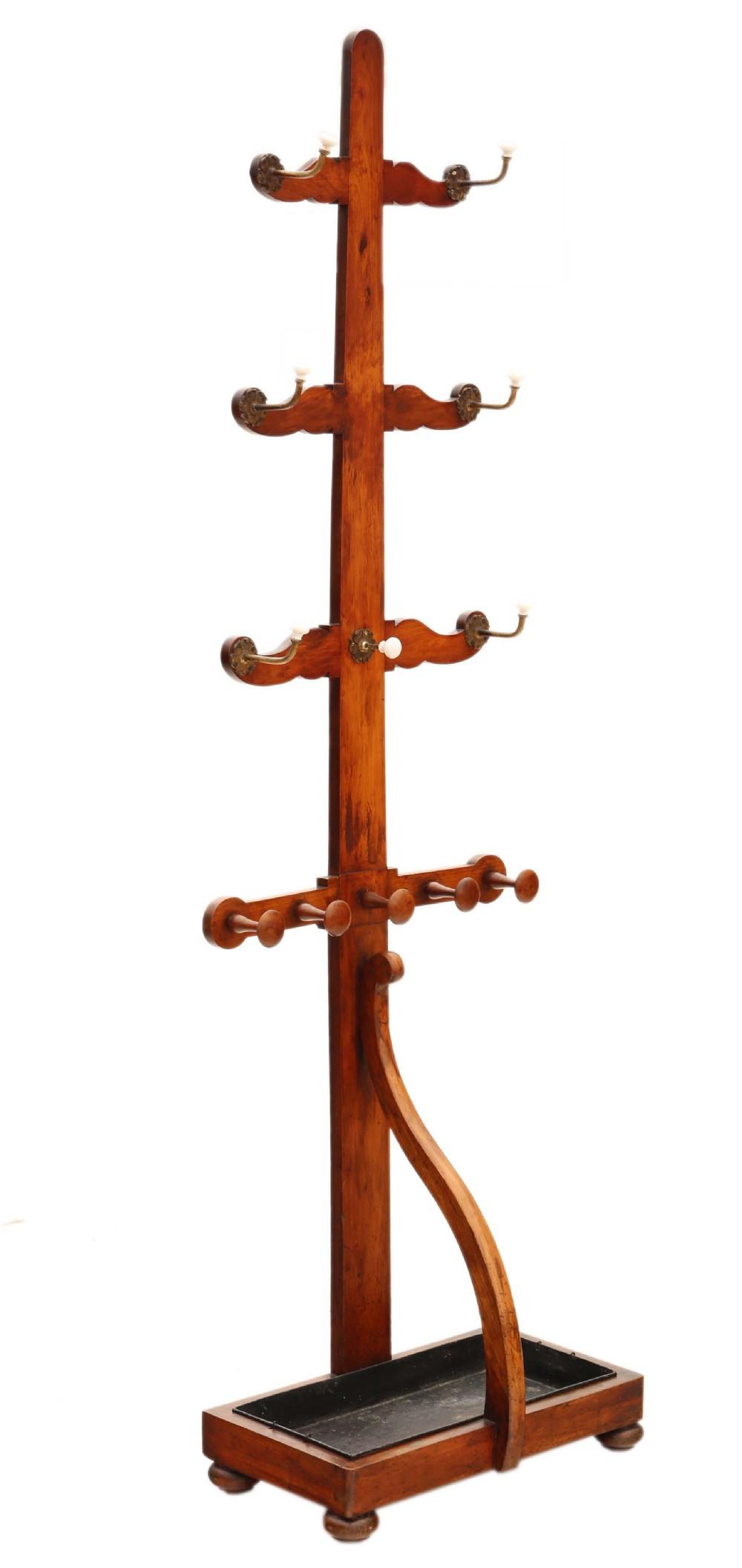 antique quality red walnut victorian hall coat hat stick umbrella stand