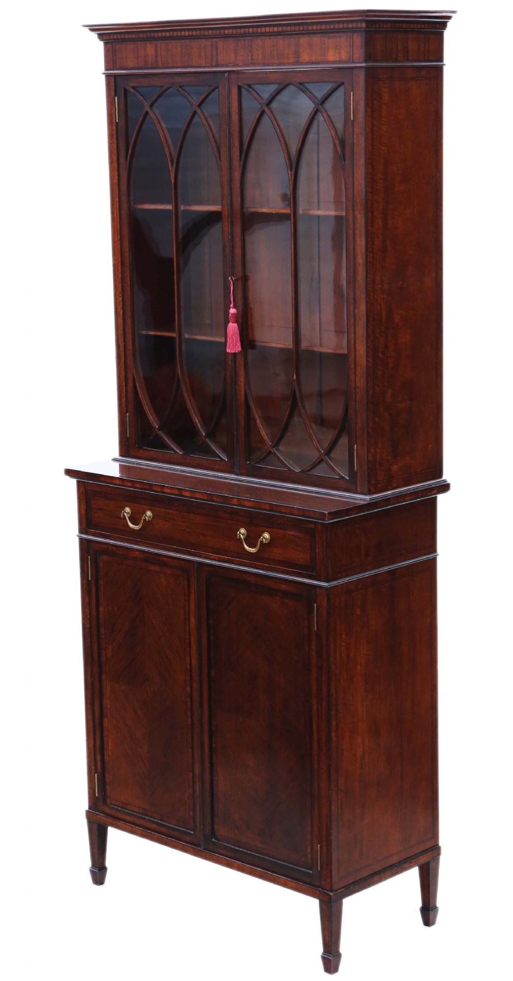 georgian revival mahogany glazed bookcase on cupboard c1890