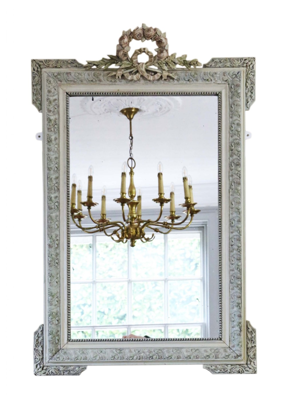 large 19th century french decorated overmantle wall mirror