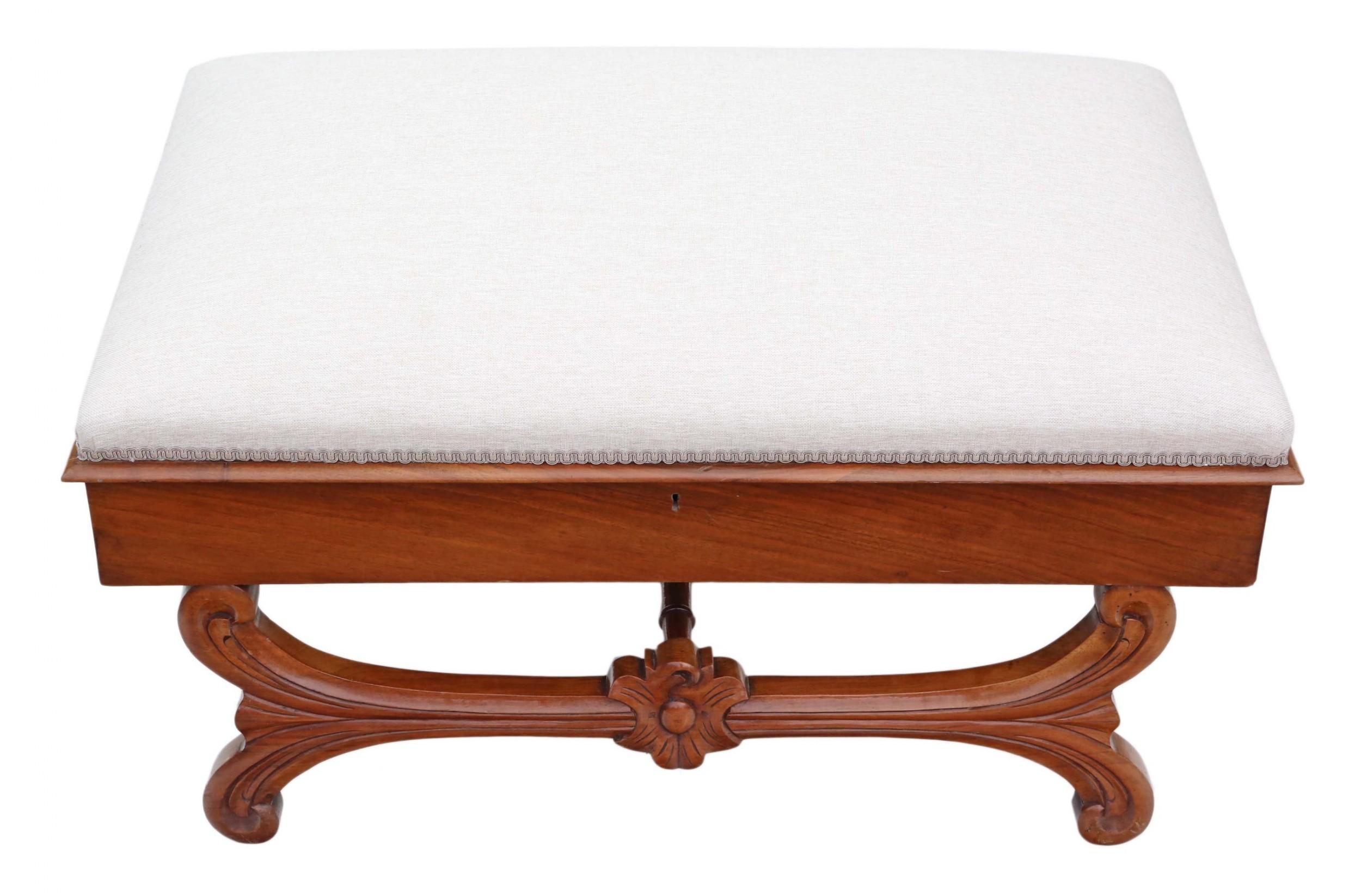 large walnut victorian x frame stool