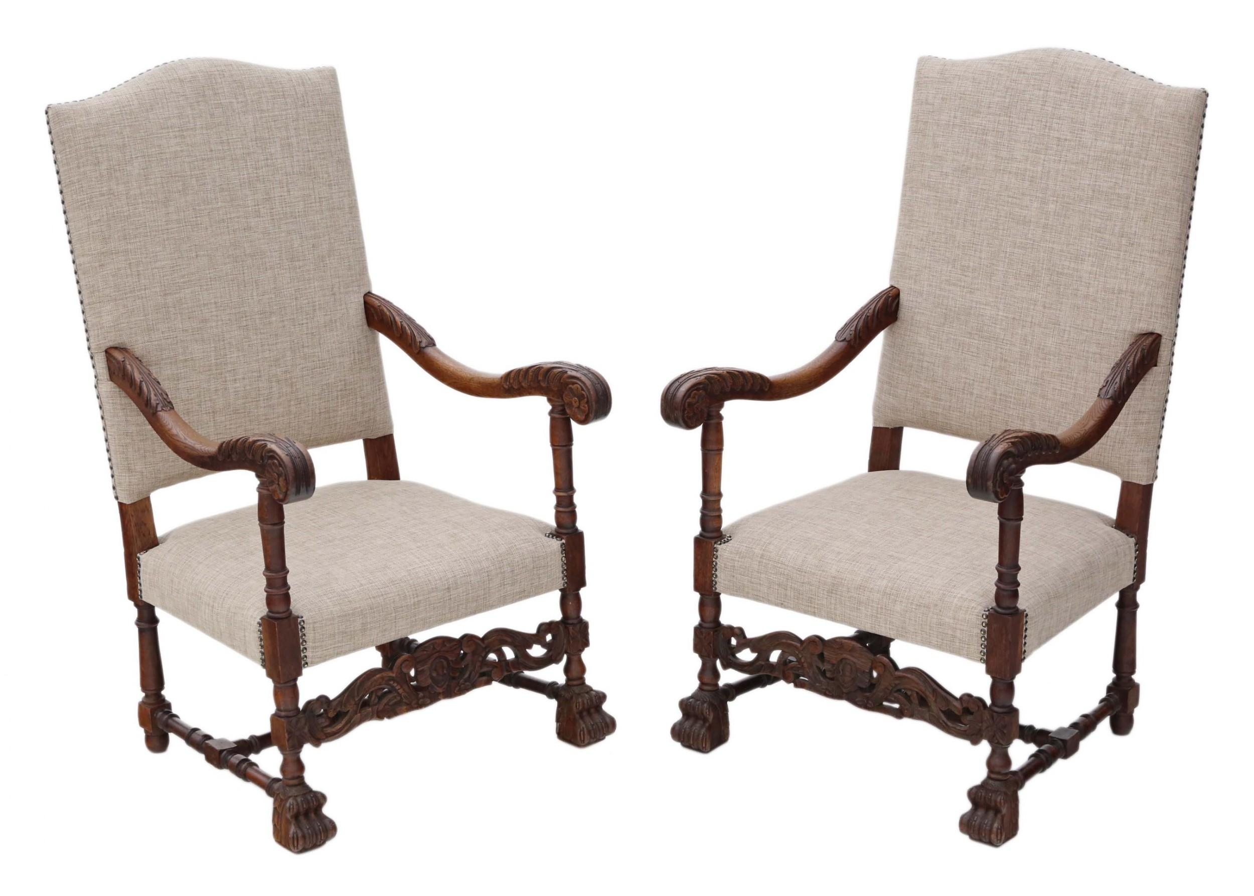Pair Of Oak Armchairs   607787   Sellingantiques.co.uk