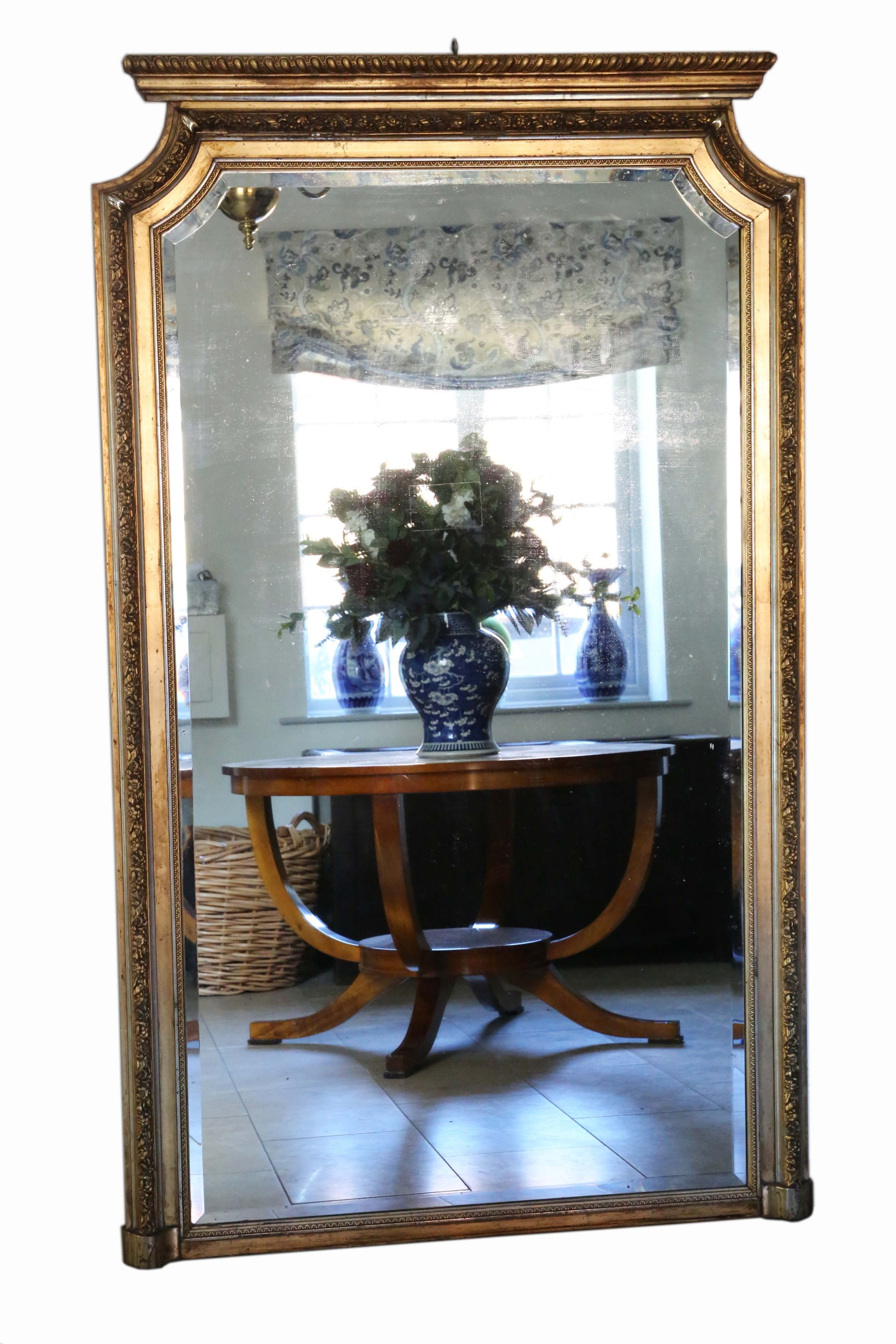 antique very large fine quality 19th century gilt wall mirror full height
