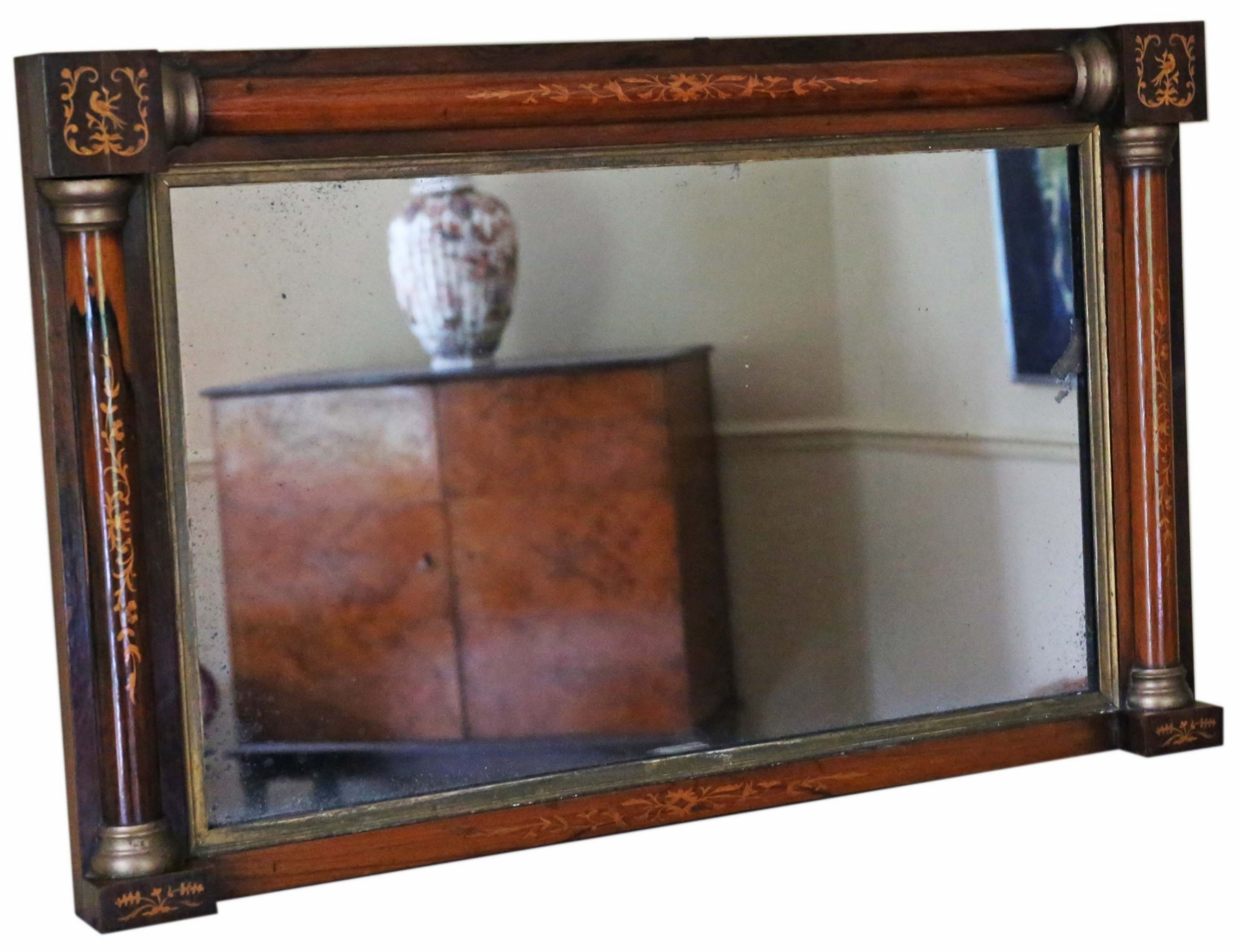 antique fine quality 19th century inlaid rosewood gilt overmantle wall mirror