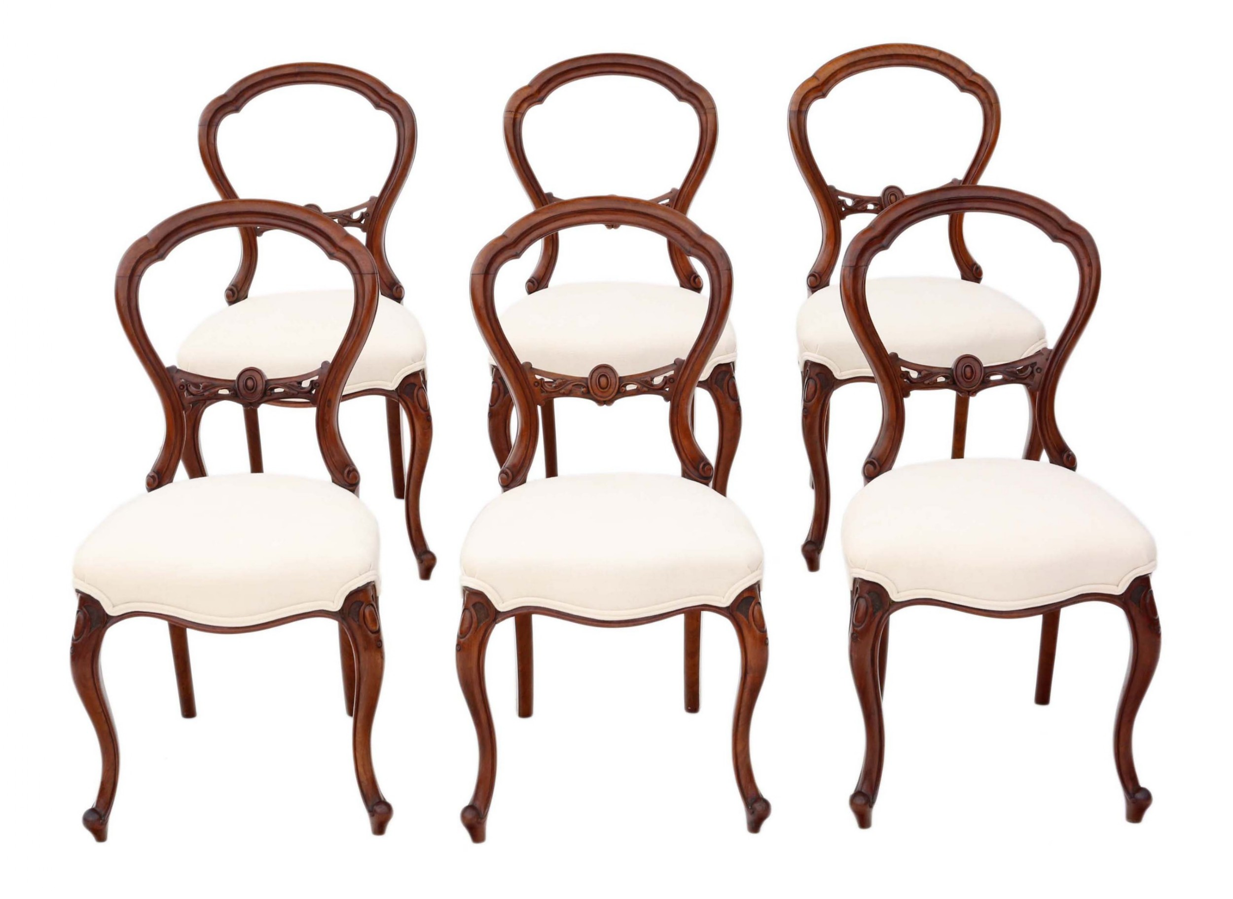 antique set of 6 victorian c1870 walnut balloon back dining chairs