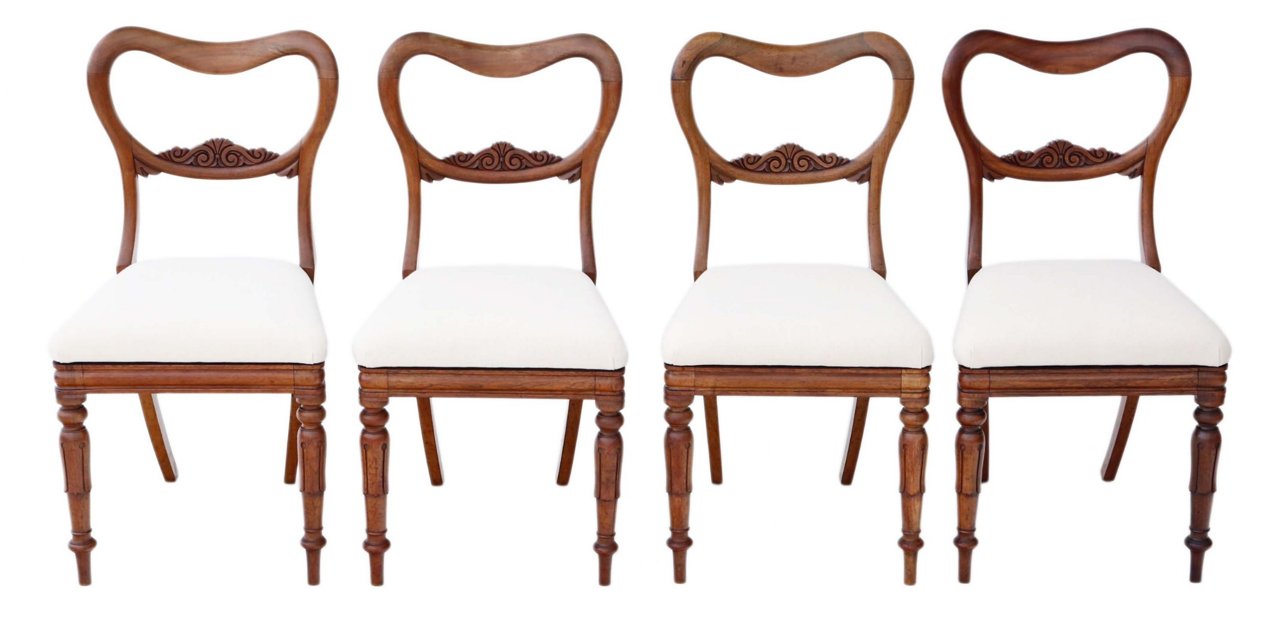 antique quality set of 4 william iv rosewood balloon back dining chairs c1835