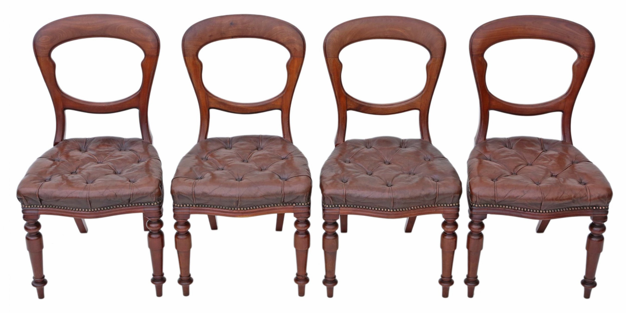 set of 4 victorian mahogany leather balloon back dining chairs