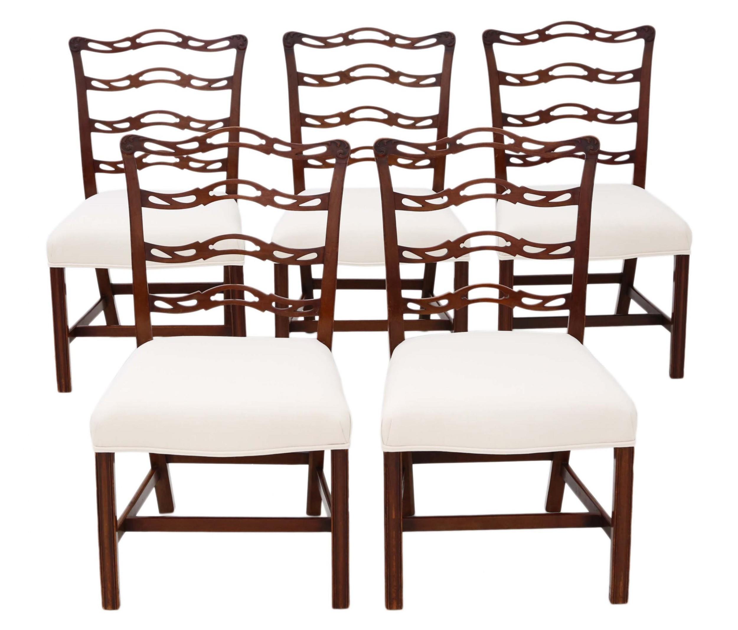 set of 5 georgian revival c1900 mahogany dining chairs