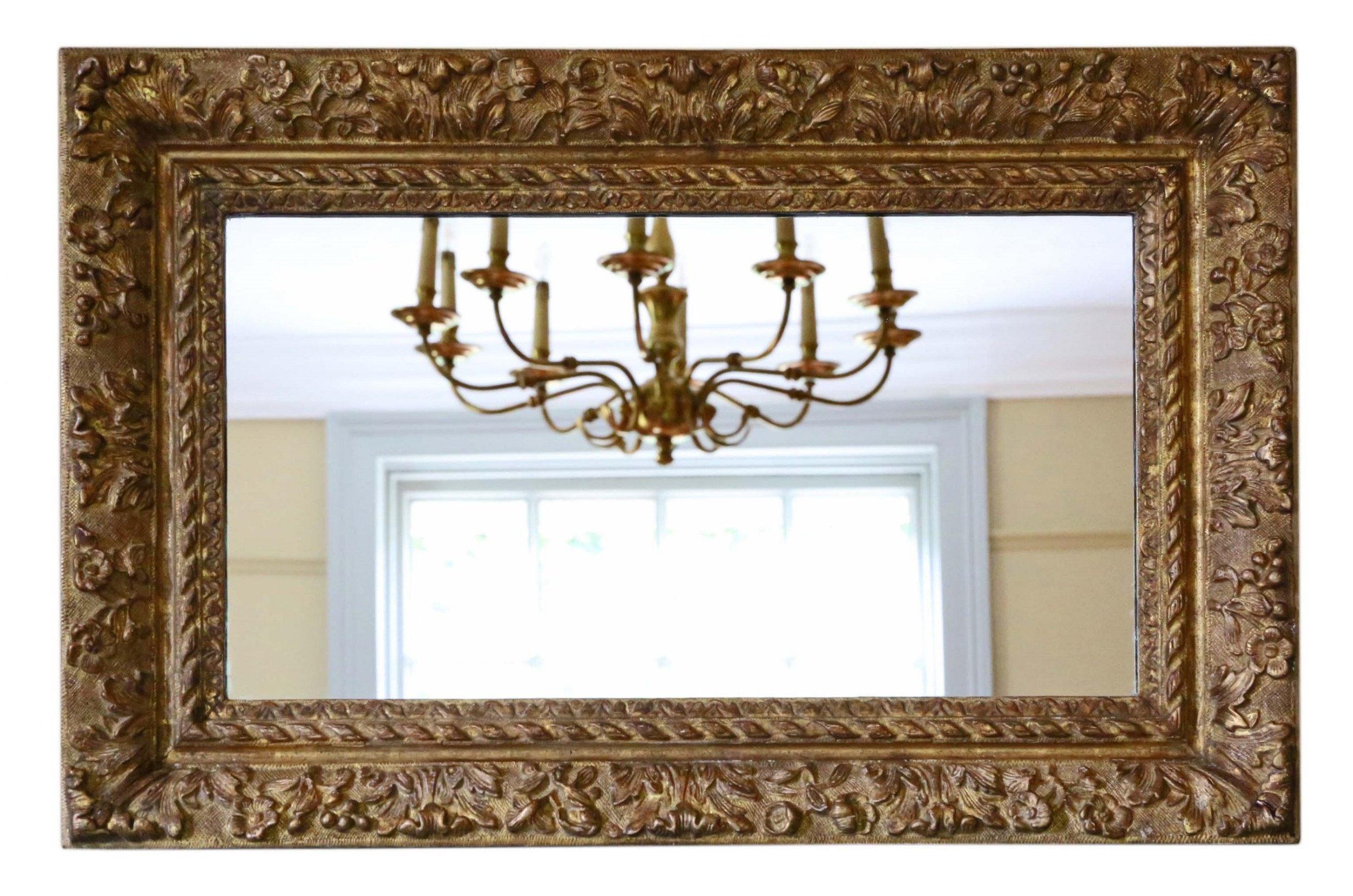 19th century louis xiv style gilt overmantle wall mirror