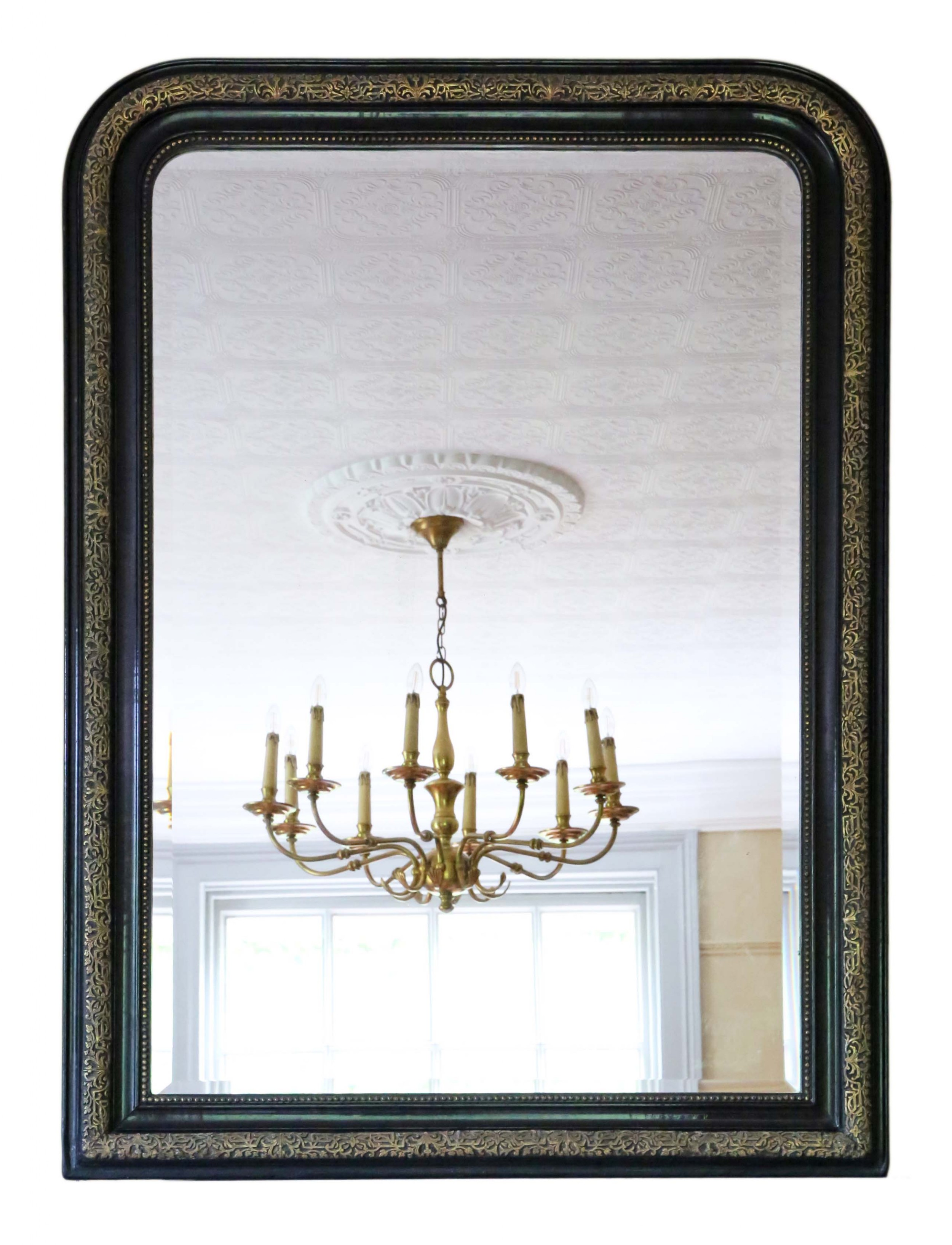 very large 19th century ebonised and gilt finish overmantle wall mirror