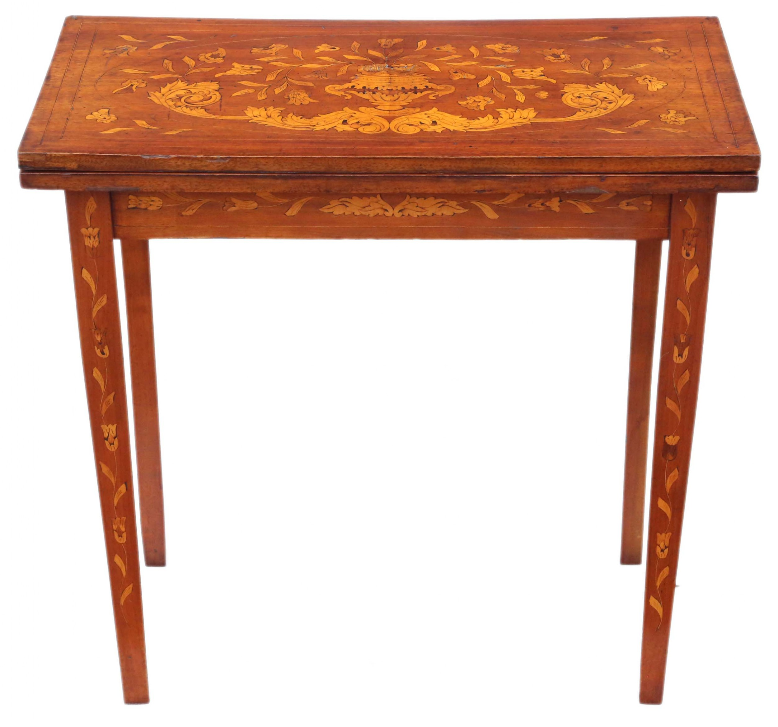 victorian mahogany marquetry folding card console table