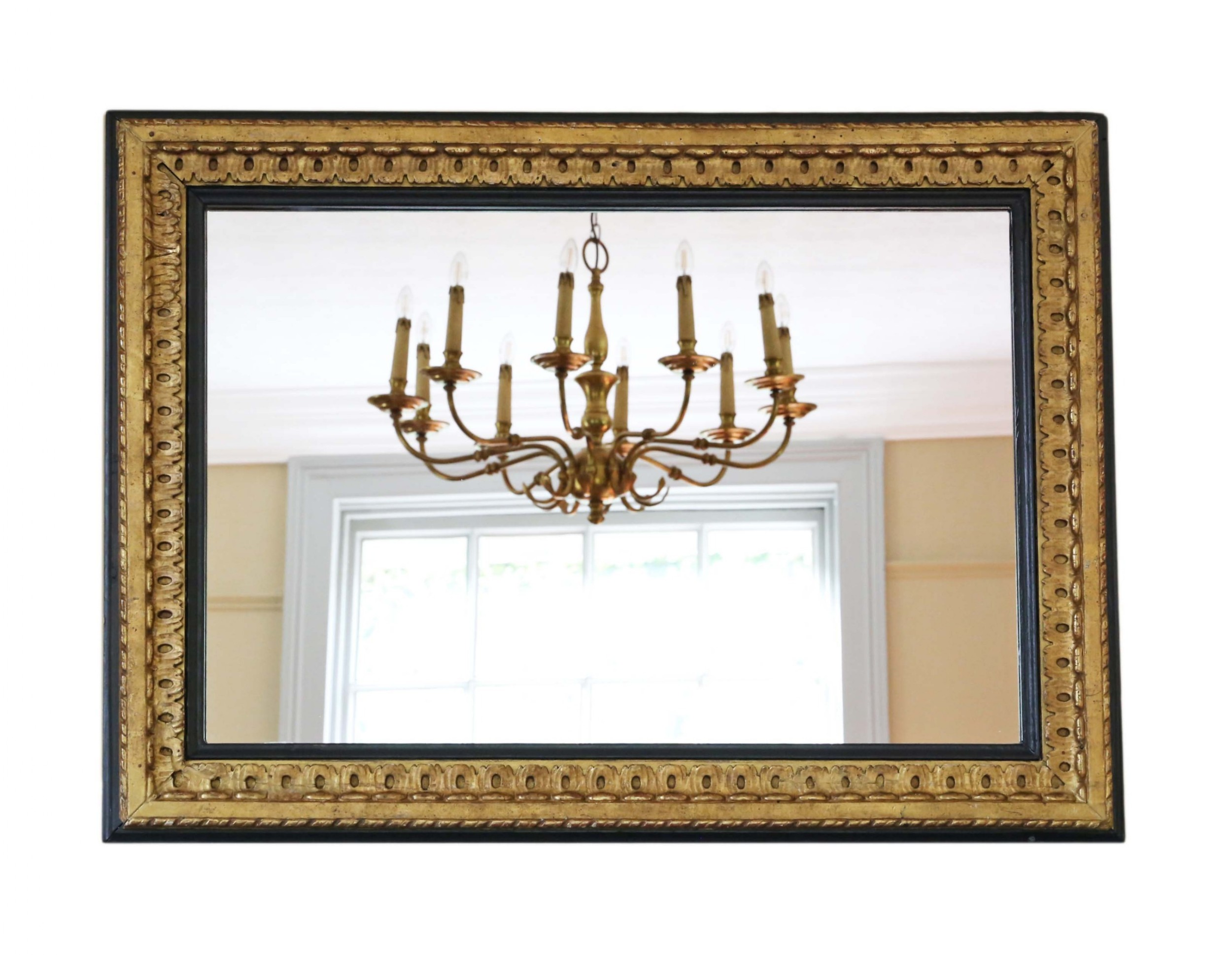 large black and gilt 19th century overmantle mirror