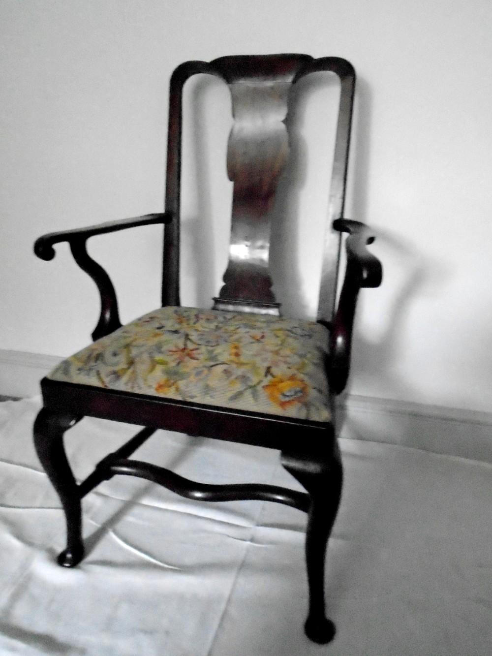 a genuine queen anne red walnut armchair