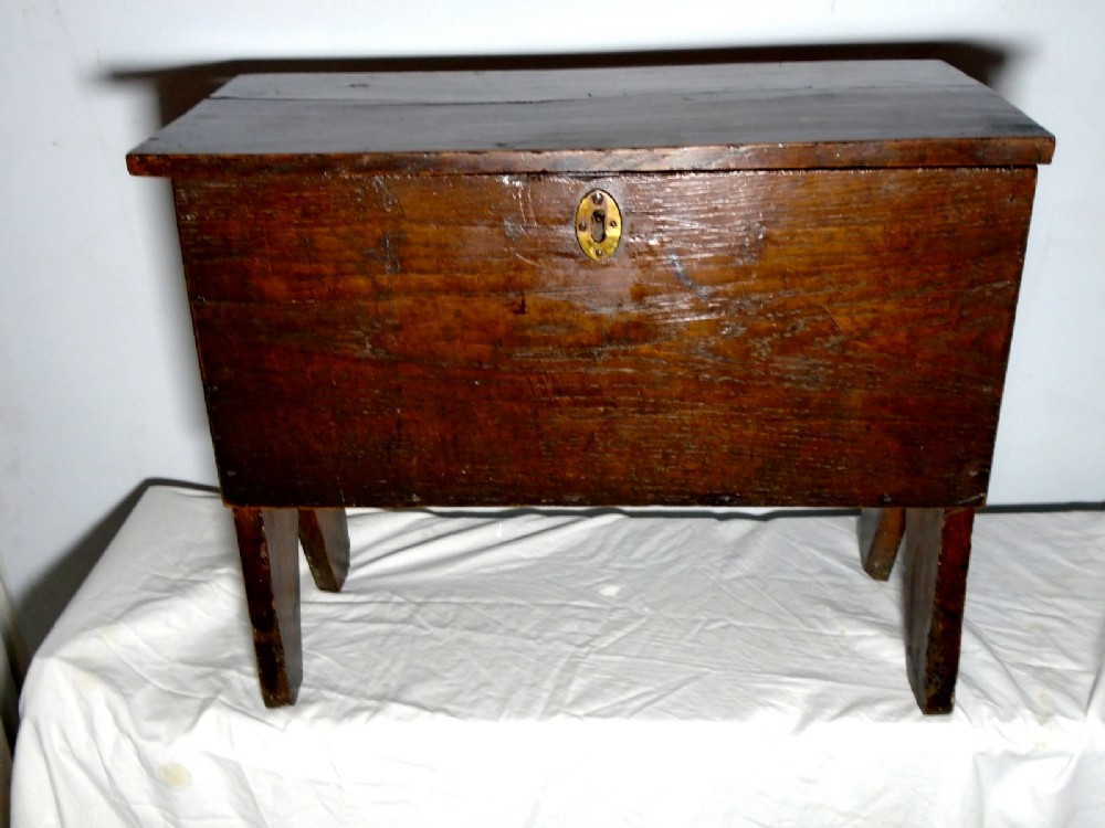 an extremely rare 17th century genuine child's oak and elm six plank nursery coffer