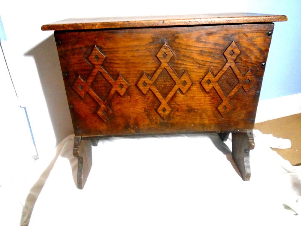 a late 17th century country house child's nursery or bedroom 6 plank oak coffer