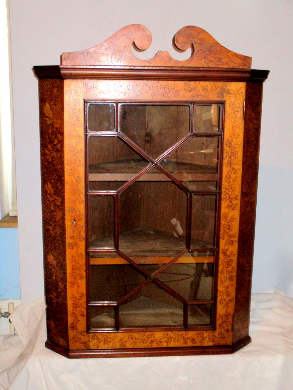 an extremely rare edwardian satin walnut pyrography decorated corner cupboard