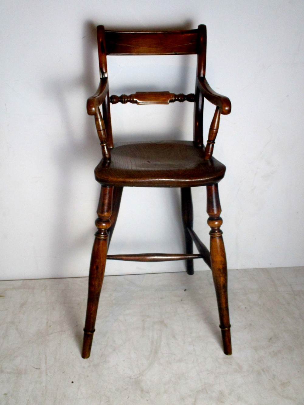 a charming and delightful early 19th century elm ash and fruit wood oxford bar back child's high chair