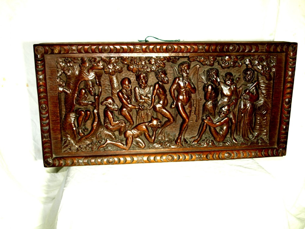 a unique late 18th century high relief oak carving named the dangers of dancing with the devil
