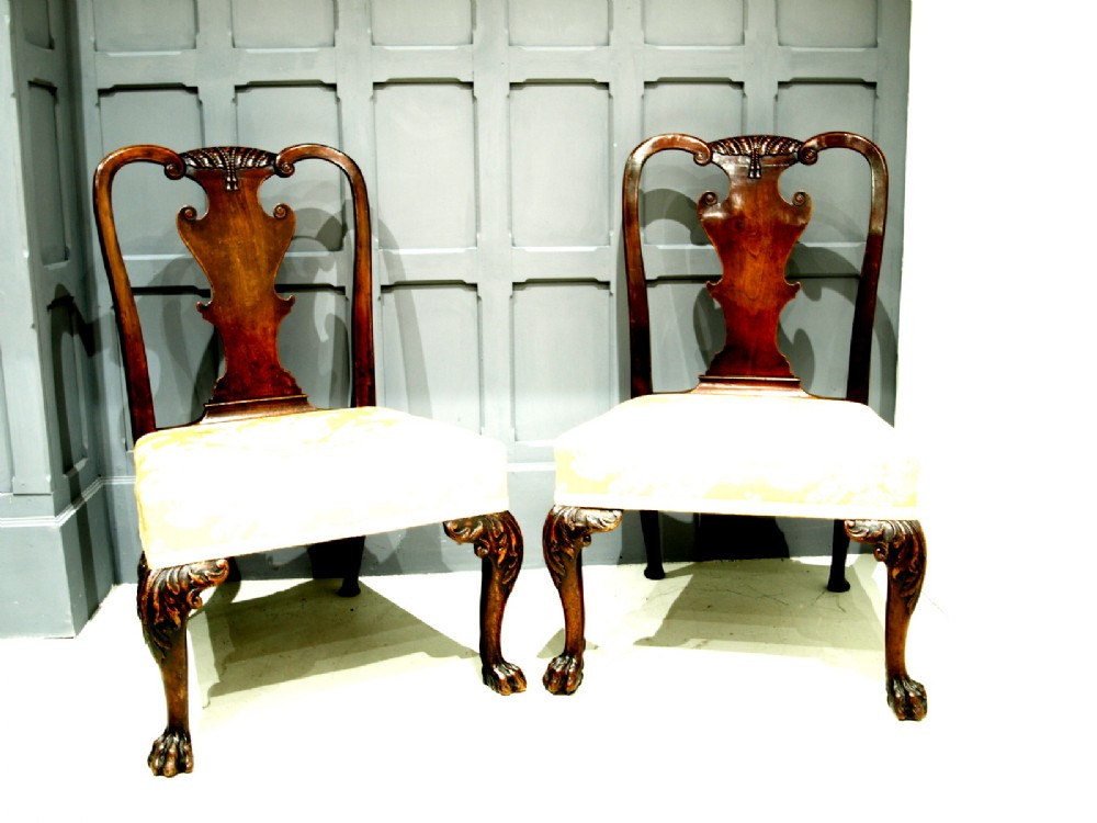 a very fine quality pair of george 11 walnut side chairs