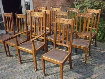 Antique Victorian Dining Chairs Arts And Crafts Oak 183427 Sellingantiques Co Uk