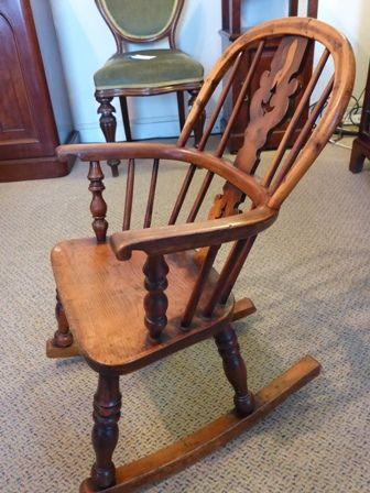 page load time 0.18 seconds & Rare Antique Yew Wood Childs Windsor Rocking Chair | 219892 ...