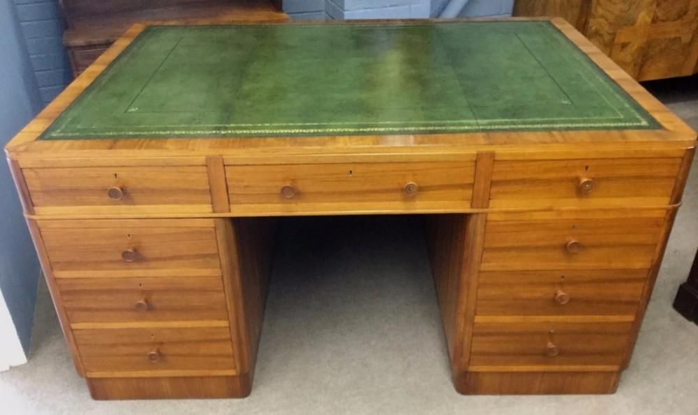 art deco desk in walnut large