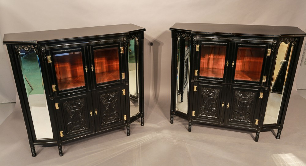 rare pair of aesthetic movement cabinets