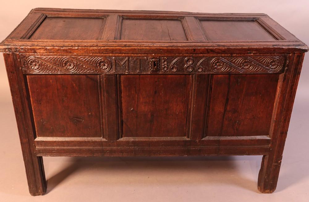 oak coffer dated 1686 initials mt