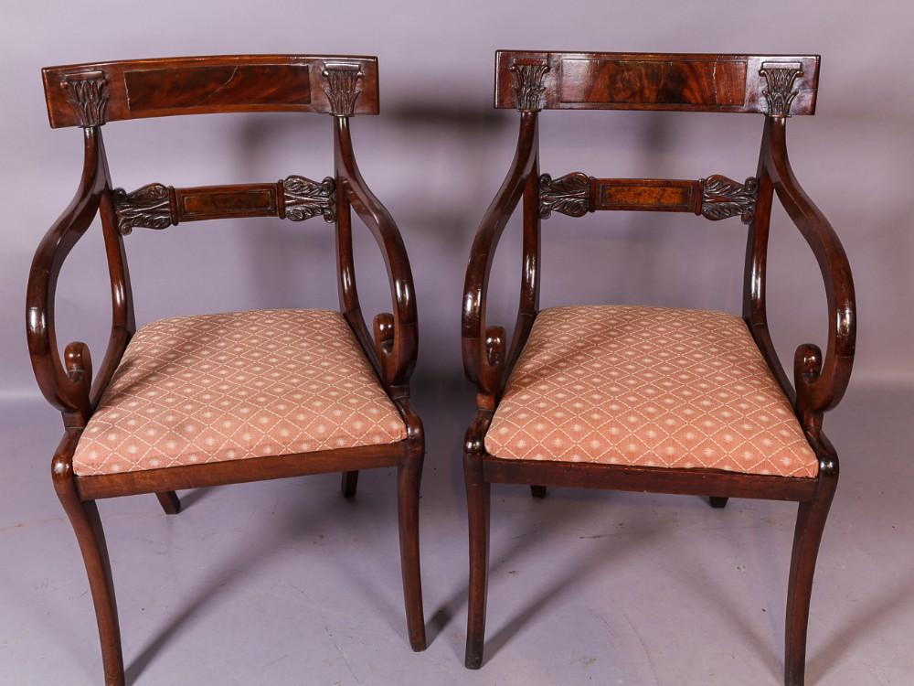 8f91b45245 A Good Set Of 8 Regency Bar Back Dining Chairs | 595693 |  Sellingantiques.co.uk