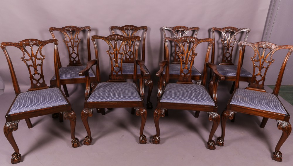 set of 8 chippendale style dining chairs mahogany c 1920