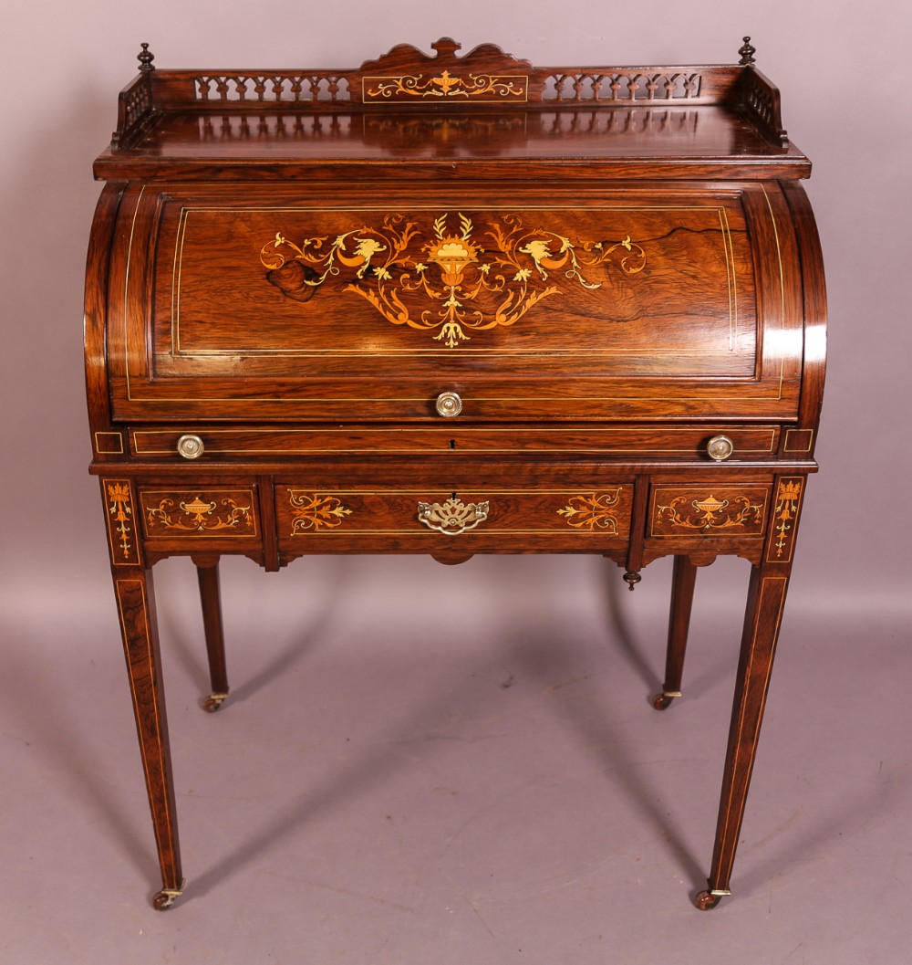 a good rosewood with inlay cylinder ladies desk