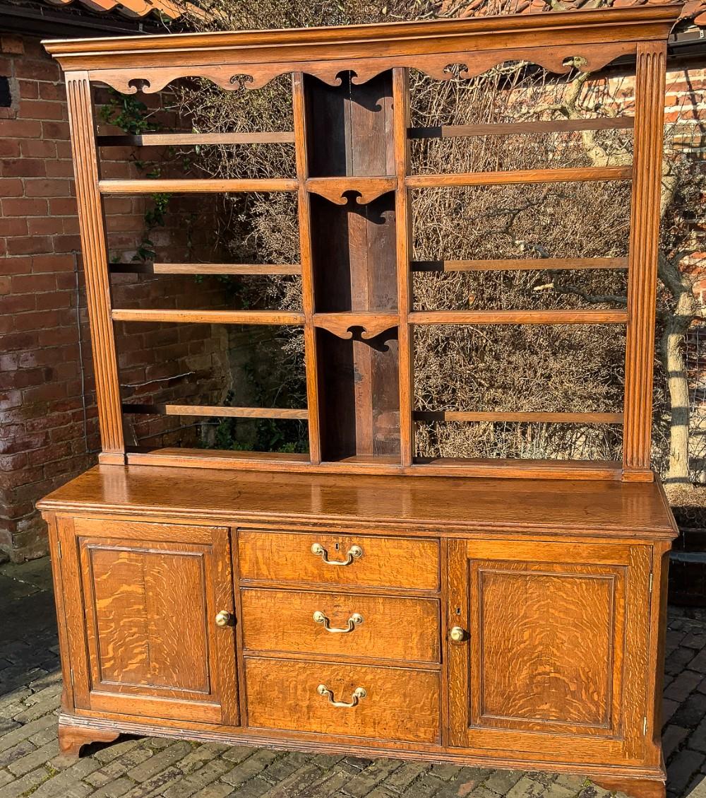 georgian oak dresser and plate rack