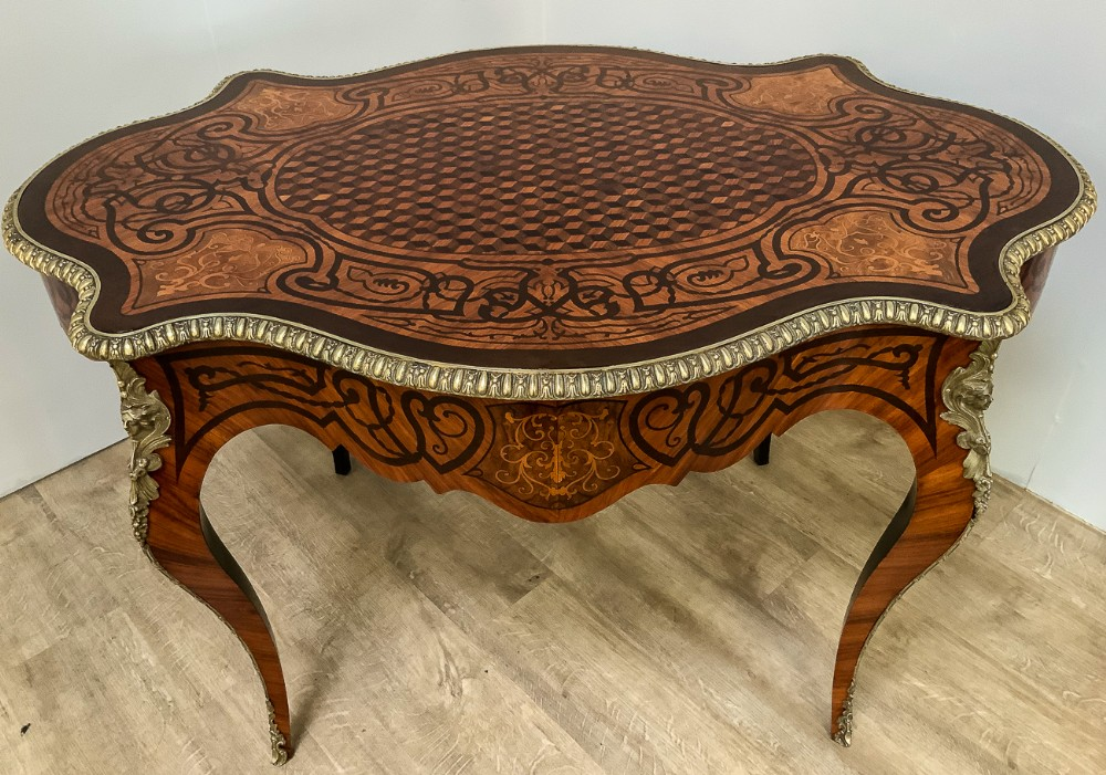 stunning quality french bureau plat king wood marquetry
