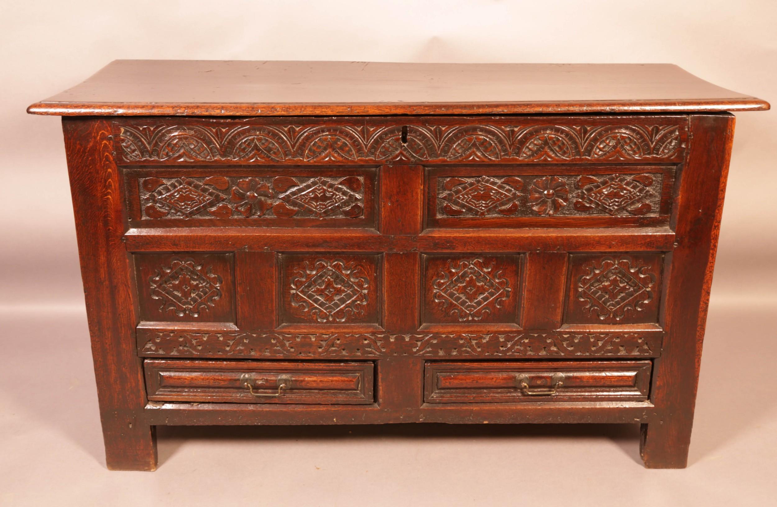 rare 17th century oak coffer