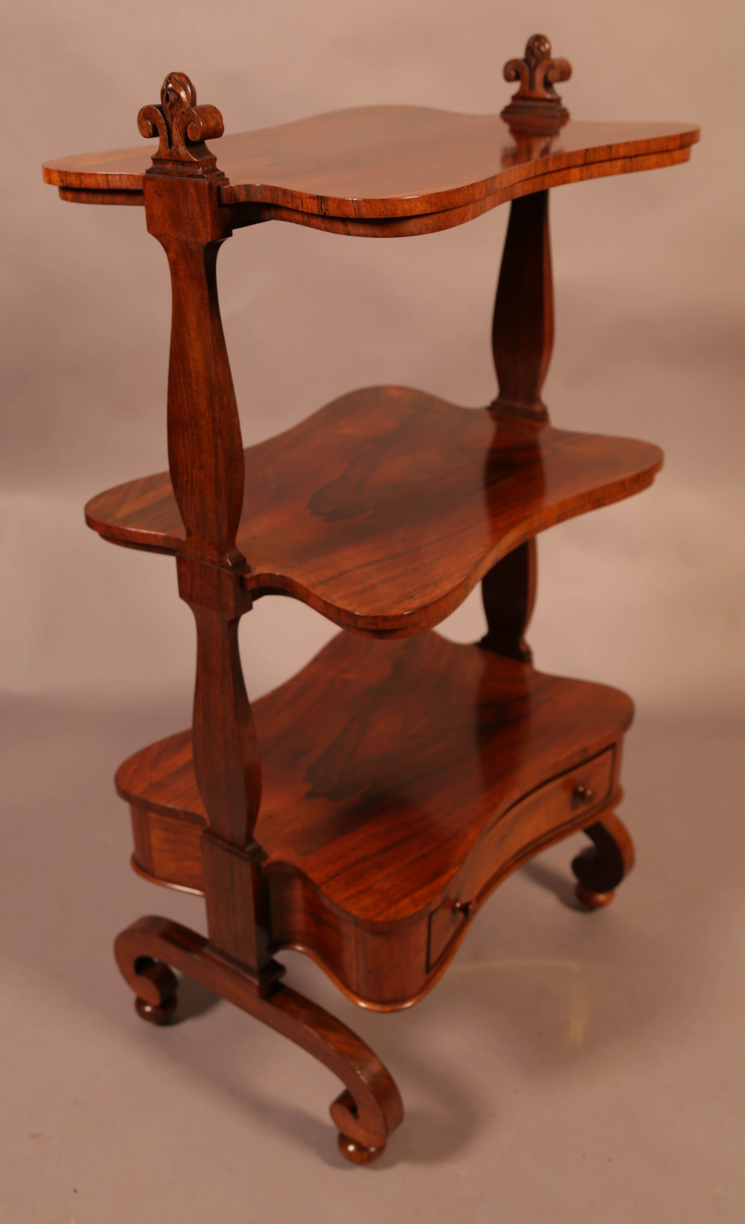 a victorian rosewood 3 tier stand with drawer