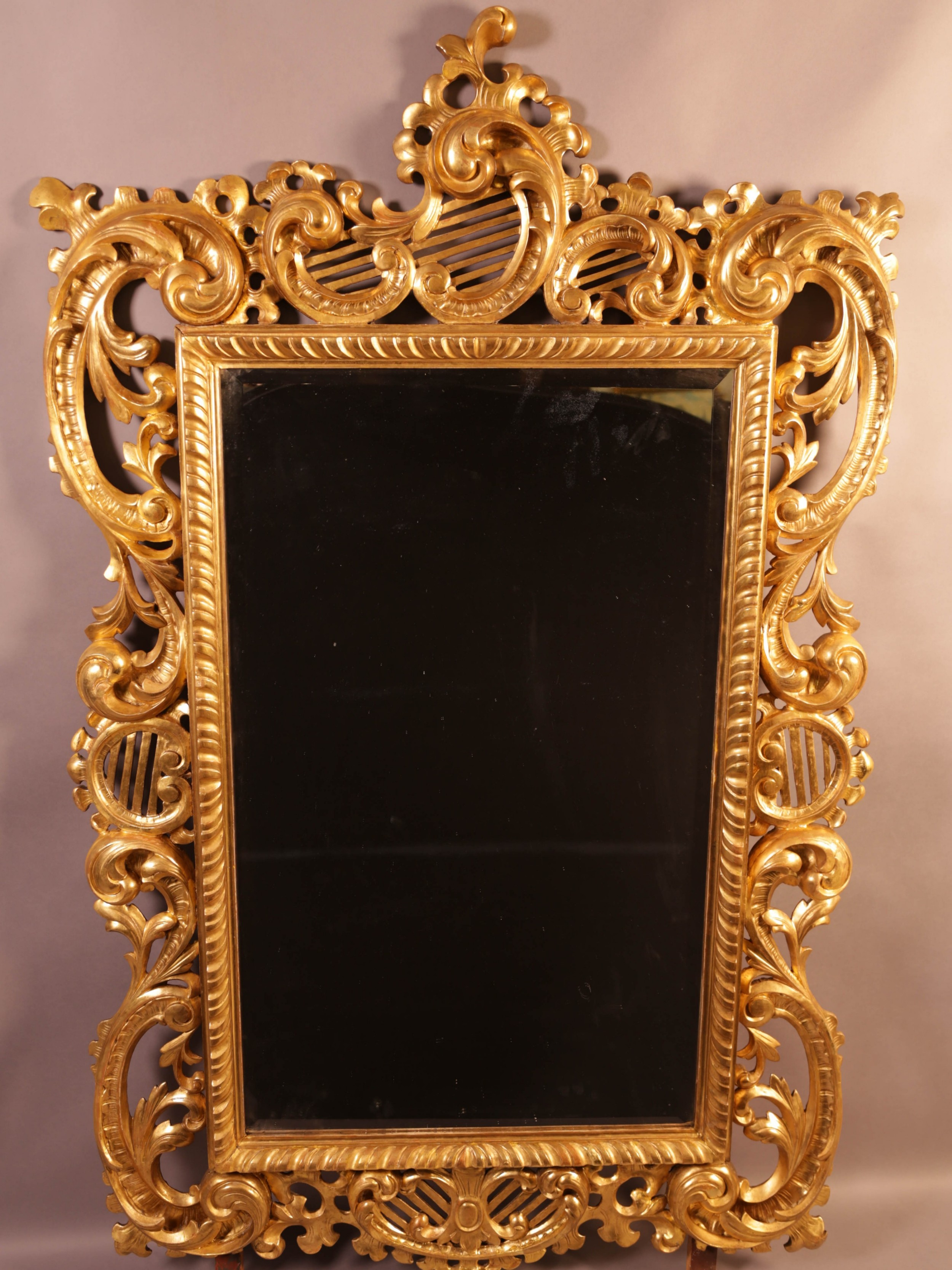 very good 5 feet 7 inches large 19th century carved wood mirror large