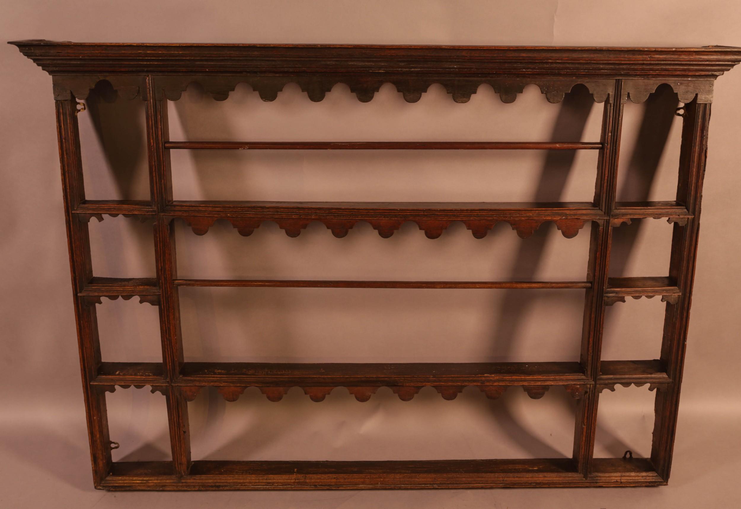 a georgian oak plate rack