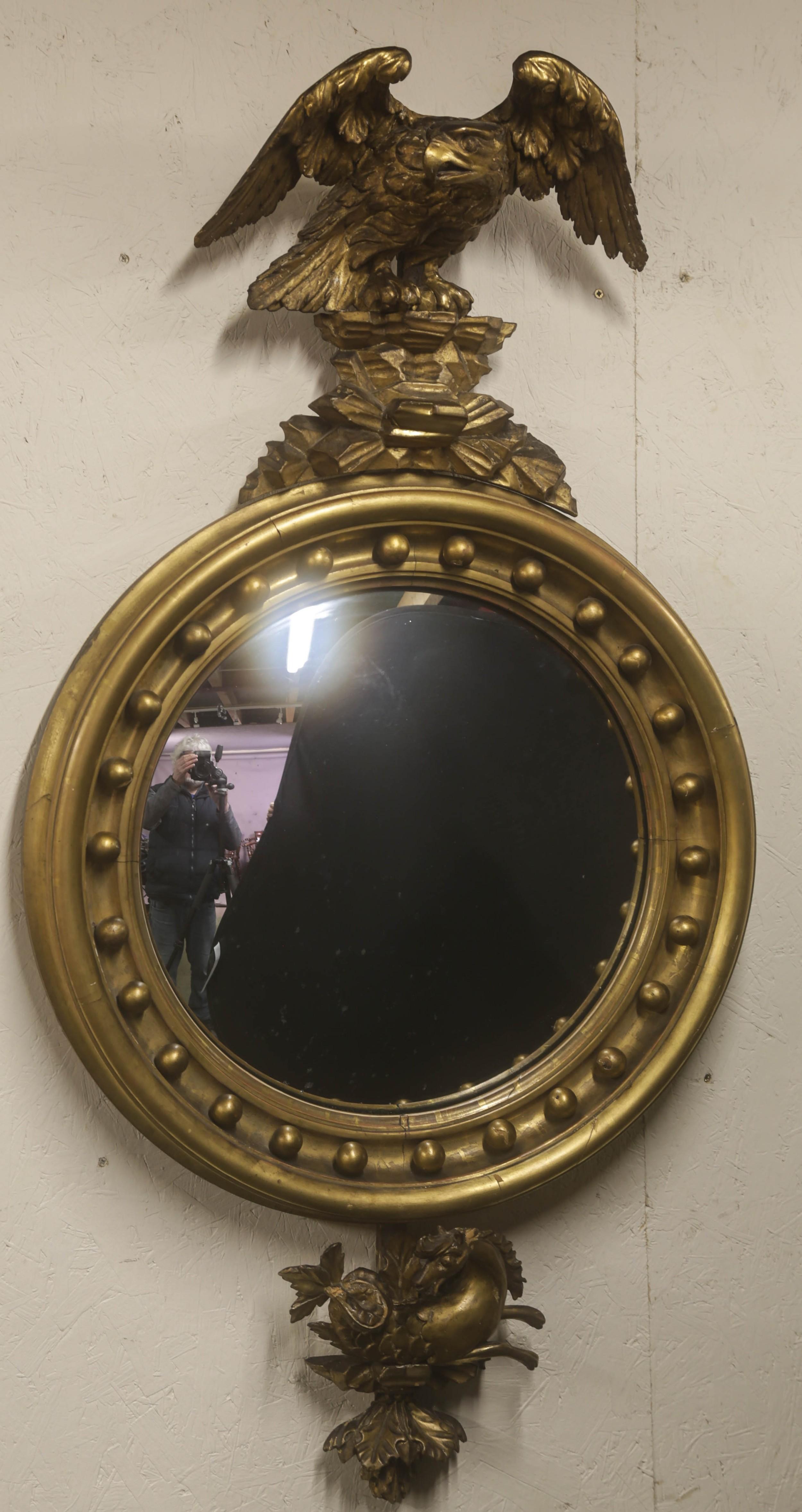 regency period convex mirror eagle pediment