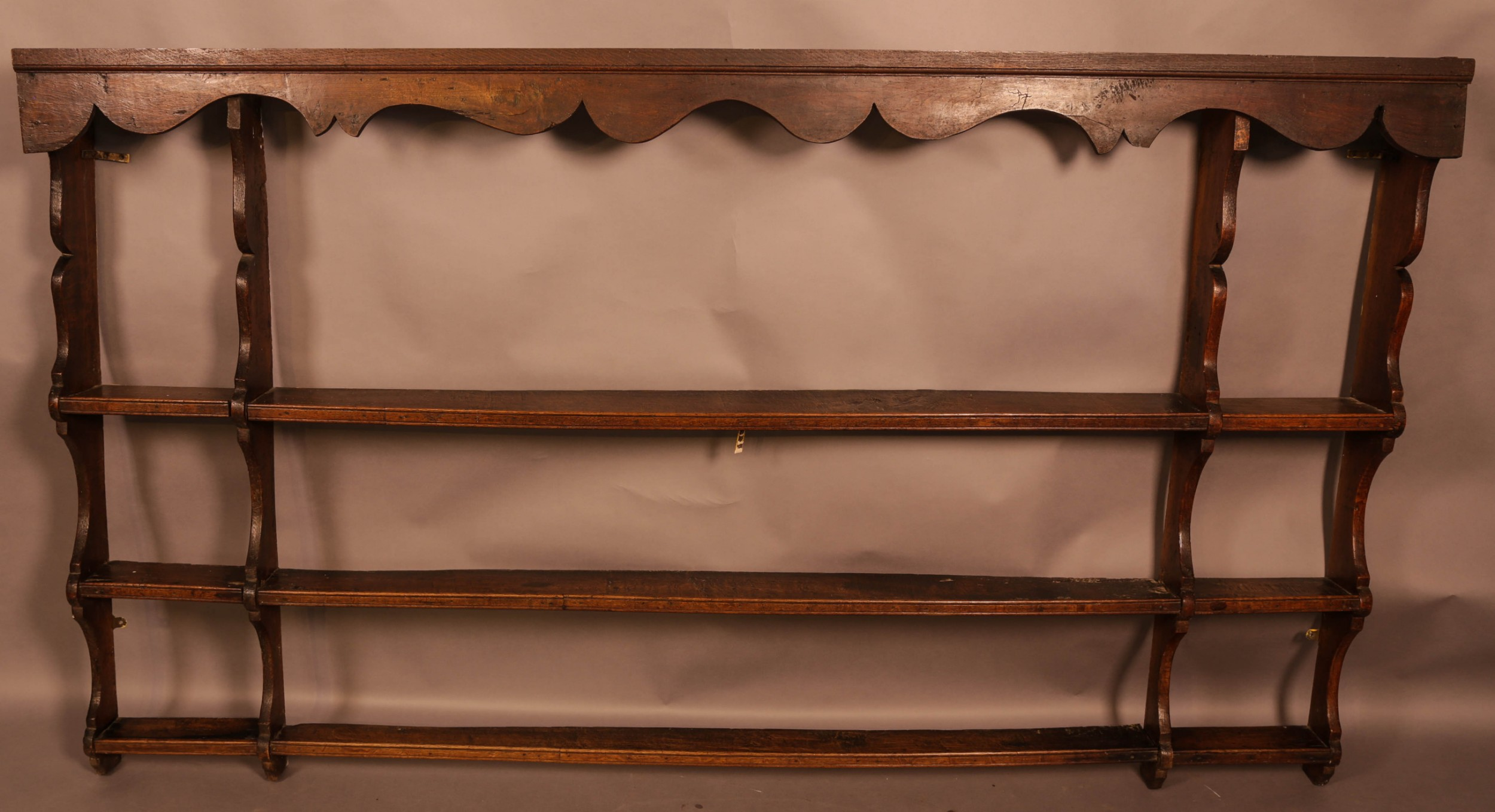 a large 18th century plate rack in oak