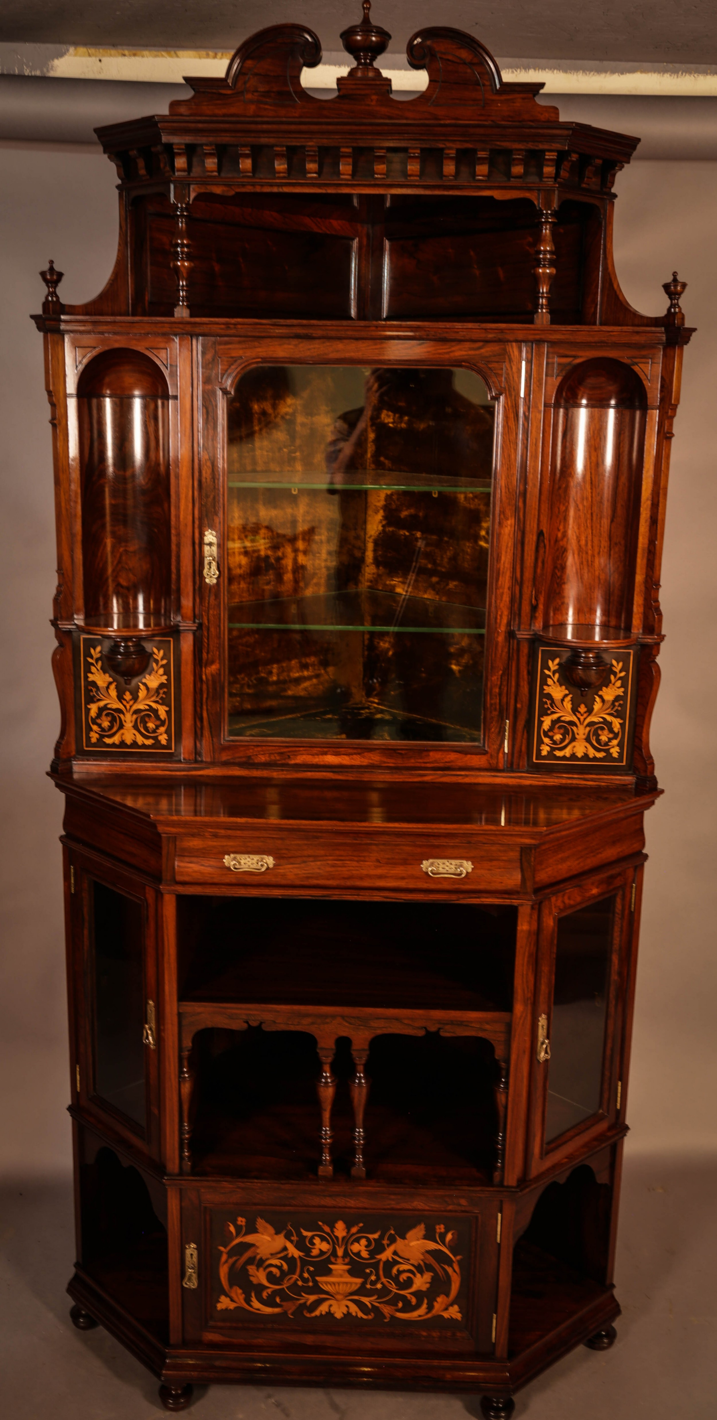 rosewood corner display cabinet by gillows