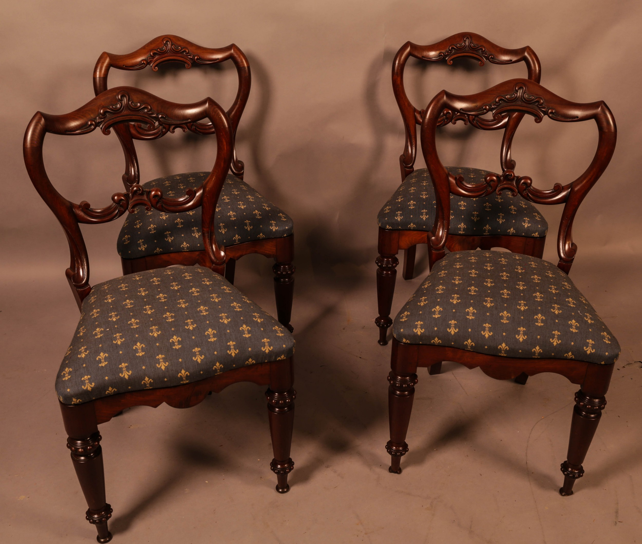 a super quality set of 4 william iv dining chairs
