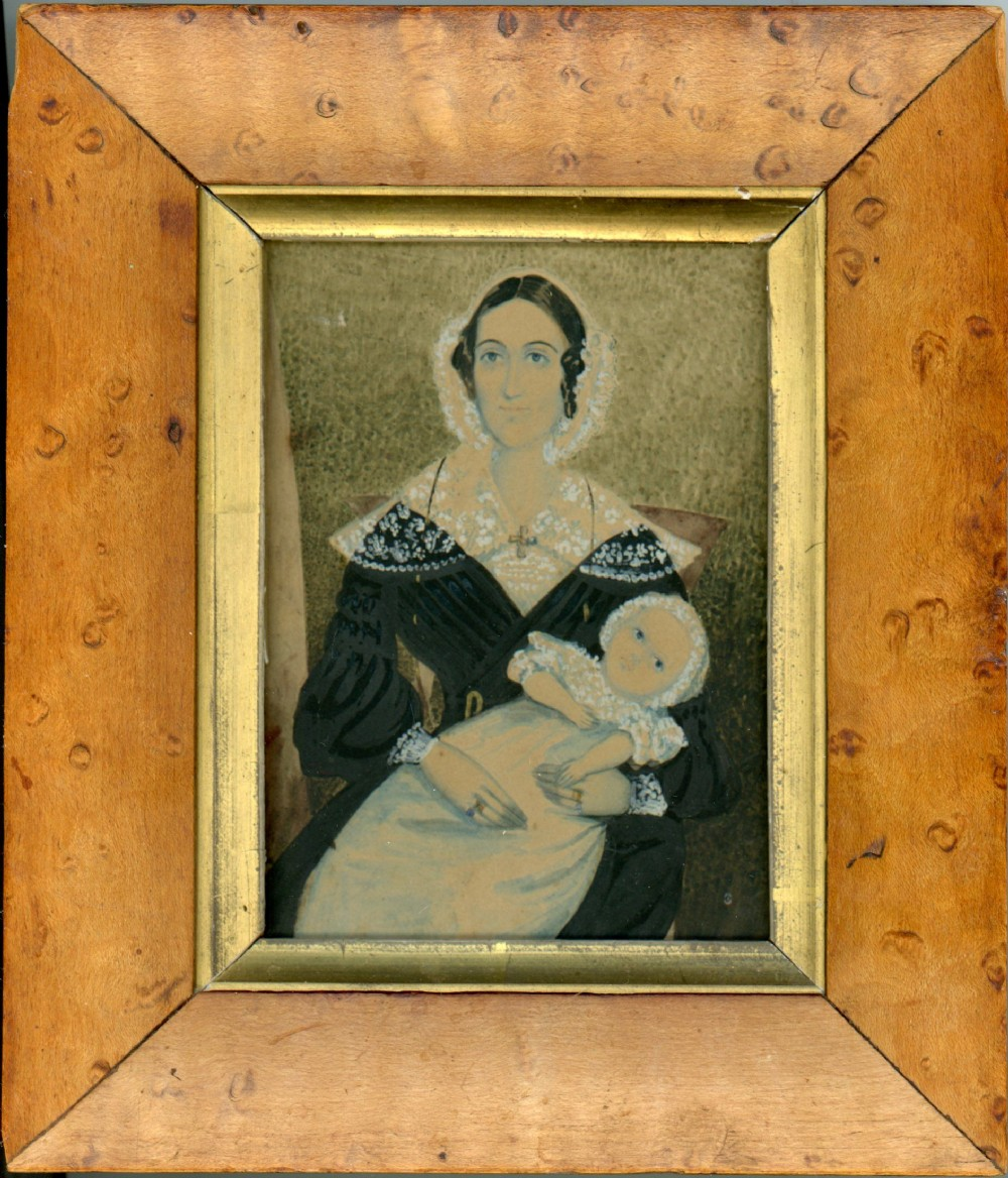 naive watercolour portrait of a mother and child circa 1840