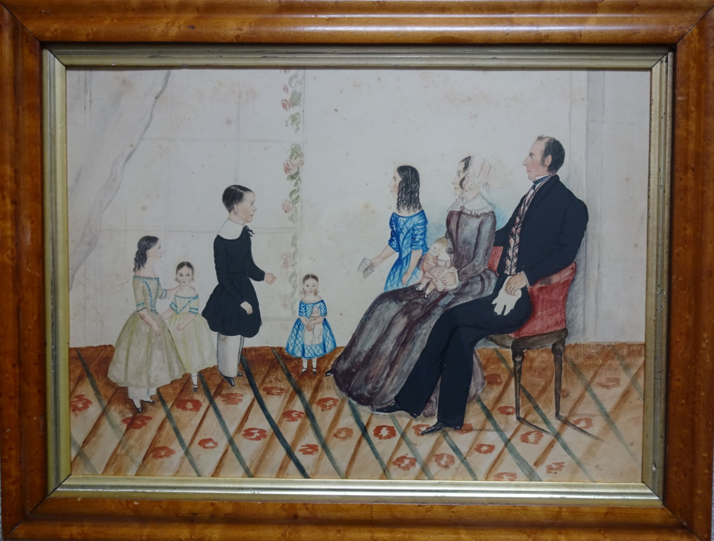 happy families naive watercolour portrait circa 184050